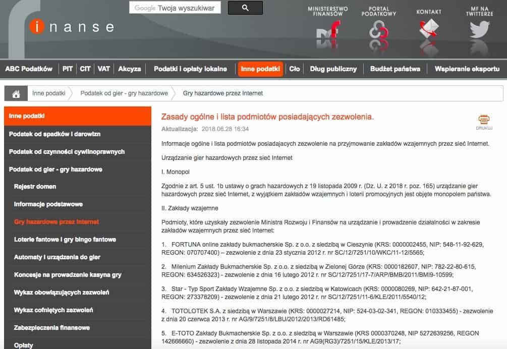 Oficjalna strona Ministerstwa Finansów