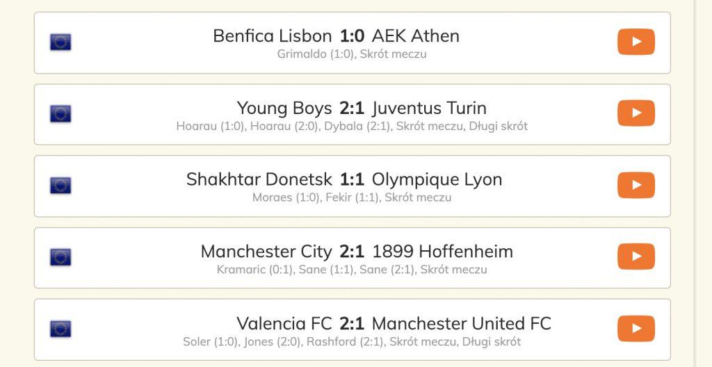 Liga Mistrzów skróty meczów w internecie