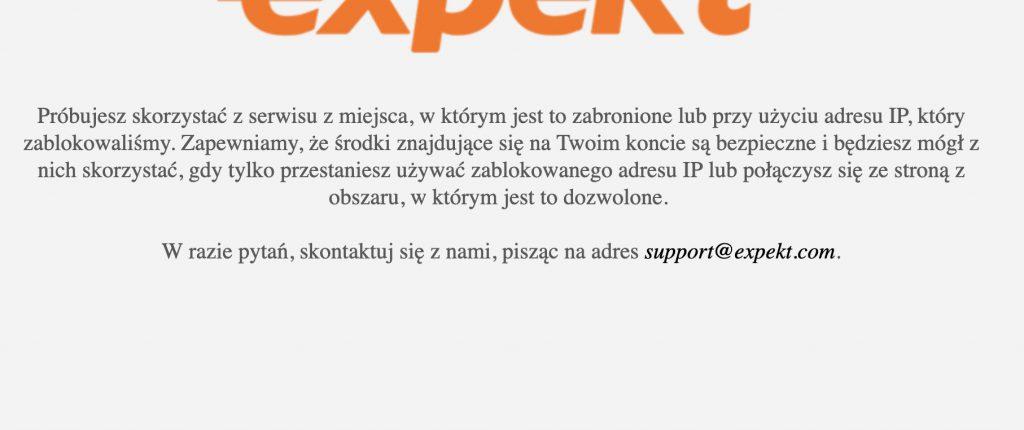 Expekt i zablokowana strona www