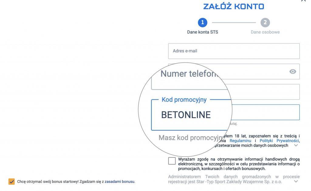 STS bonus bez depozytu 2020. Freebet bez wpłaty 29 PLN! Kod promocyjny BETONLINE