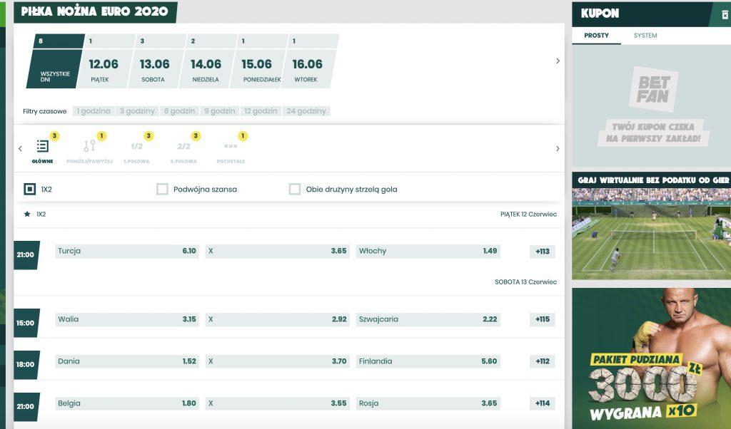 Euro 2020 zakłady online w Betfan